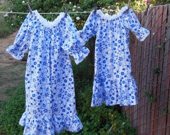 Prairie Nightgown Toddler or Baby Blue Flannel Flowers Eyelet Lace Custom Made