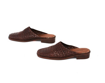 size 7 WOVEN brown leather 80s 90s CLOG slip on mules