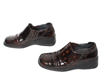 size 7.5 PLATFORM brown patent leather 80s 90s WEDGE slip on GRUNGE loafers boots