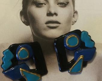 Big Vintage 80's earring blue chunky plastic abstract art earrings