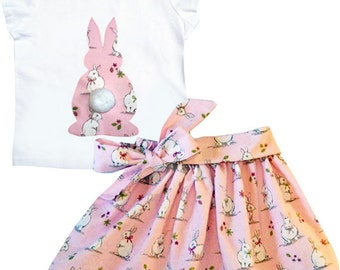 Girl's Rabbit Skirt and Tee -shirt Outfit / Easter Clothes / Babies / Children's Clothes / Baby Gift