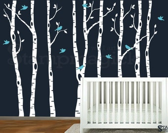 Birch Trees Forest Wall Decal - Nursery Vinyl Wall Decor Birds Art Mural Home Decor - K269