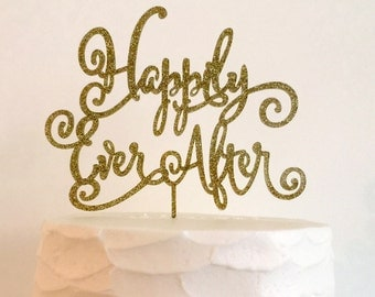 Happily Ever After Gold Wedding Cake Topper - Wedding, Bridal Shower Laser Cut Acrylic