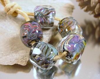 Lampwork glass beads, Artisan glass beads, black beads, green beads, purple beads, blue beads, barrel beads,  SRA handmade artisan bead set.