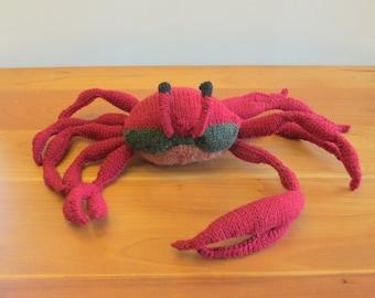 Plush Fiddler Crab Stuffed Animal, Fiber Art Sculpture handknit from wool. Handmade Stuffed Animals