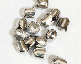 50 pcs of Antique Silver plated brass four petals bead caps 7mm, bulk Antique Silver tassel caps, Platinum color end caps