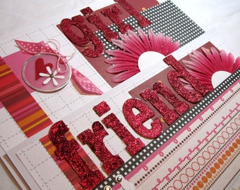 Scrapbook Premade Pages Girl Friend Layout - kitsnbitscraps