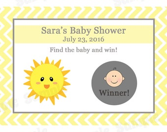 24 Personalized Baby Shower Scratch Off Game Cards - You Are My Sunshine Baby Shower - Sunshine Baby Shower - Sunshine Scratch Off Game