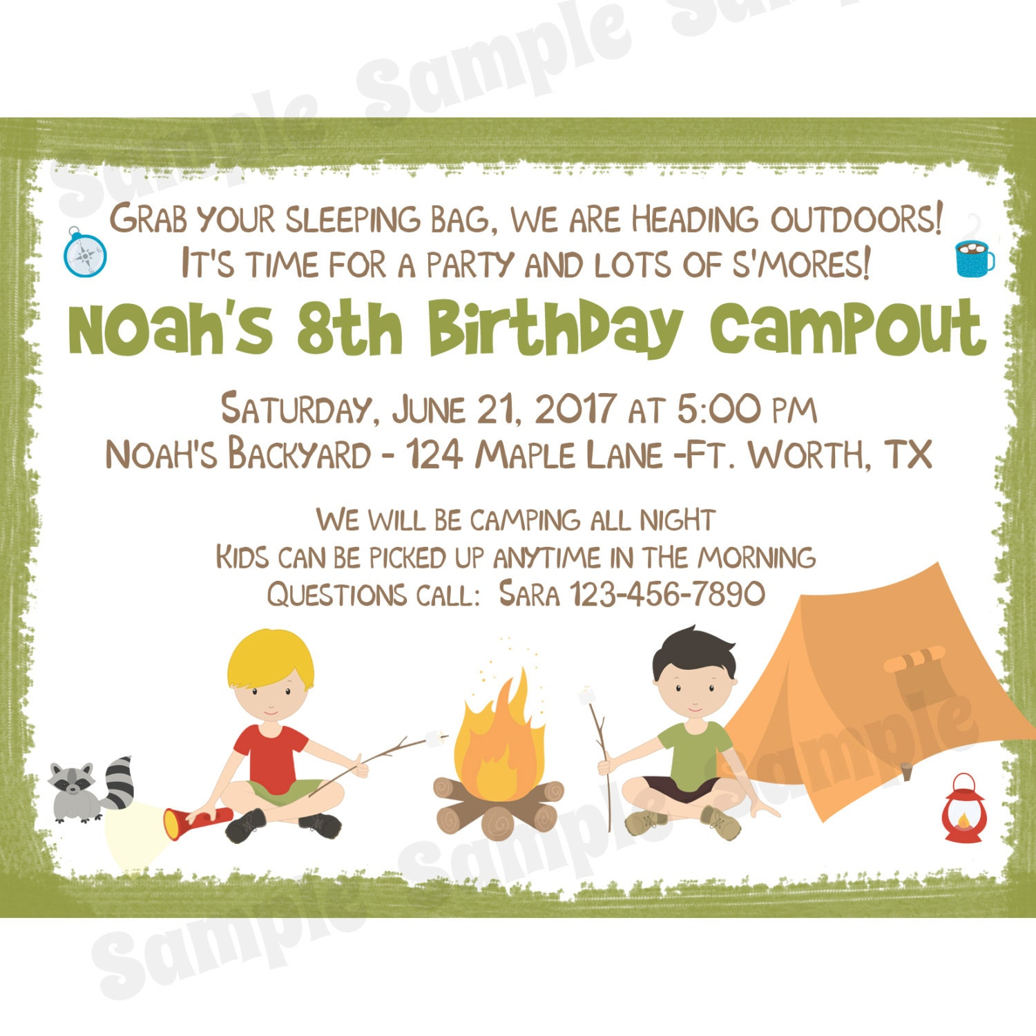 20 Personalized Birthday Invitations - Camping Party - Backyard ...