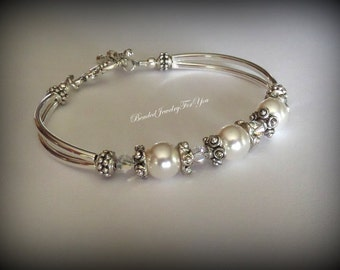 Pearl Wedding Jewelry: Bridesmaid Jewelry, Bridesmaid Bracelet, Wedding Jewelry, Bridal Party Gift, Custom Wedding Jewlery, Bridal Gift Set