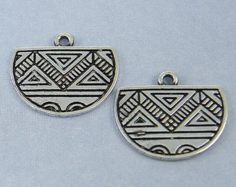 Silver Tribal Half Circle Earring Findings Antique Silver Geometric Half Moon Earring Dangles Boho Gypsy Jewelry Component  S2-4 2
