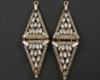 Clear Rhinestone Earring Findings Double Triangle Pendant Component Long Gold Drop Hinged Diamond Baguette Jewelry Supply |AN10-4|2