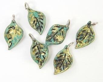 Green Leaf Charm Gold Enamel Nature Jewelry Pendant |GR11-1|6