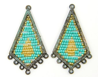 Verdigris Earring Findings Aqua Gold Beaded Patina Chandelier Jewelry Supply |B7-10|2
