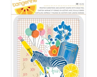 Amy Tan Finders Keepers Die-Cuts 48/Pkg • Amy Tangerine Cardstock & Acetate Shapes W/Foil (340243)
