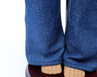 Fits like American Girl Doll Clothes - Classic Flared Blue Jeans, Made To Order