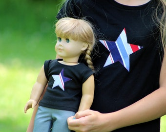 Matching Girl and Doll Clothes fits American Girl Doll - Patriotic Star Spangled Shirts, Many Sizes Available