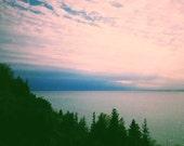 Tree photograph . cloud art . Great Lakes art . Lake Michigan photo . water photograph . minimalist art . cottage decor . wall art . dreamy