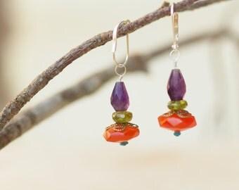 Colorful Earrings READY TO SHIP Boho Jewelry Earrings Dangle Earring Drop Earring Semiprecious Stone Best Friend Gift for Her Gift for Bride