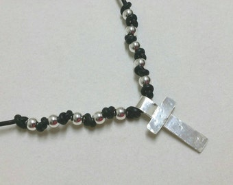 Rosary Necklace, Sterling Silver 1 Decade Rosary, Mens Cross Necklace, Black Leather Cross Necklace, Christian Jewelry Maggie McMane Designs