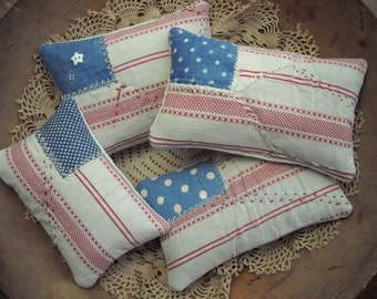 Set of Tiny Primitive Rustic Patriotic Flag Shelf Pillow Bowl Fillers From Vintage Quilts