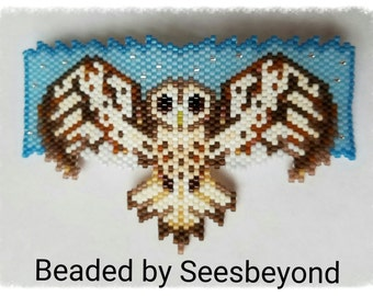 Tawny Owl Hand Beaded Barrette