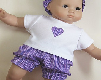 Bitty or Twin Doll Clothes -Shades of Purple Striped Bloomers with Appliqued Tee and Matching Headband