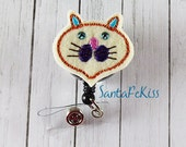 Cat Felt Badge Holder with Rhinestone Eyes and Retractable Badge Reel. A ID Badge Holder for yourself or for a favorite nurse or coworker