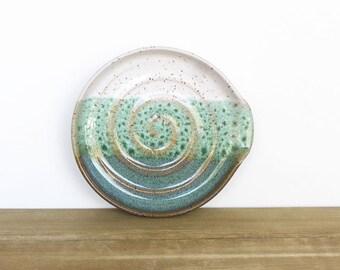 Stoneware Ceramic Spoon Rest in Sea Mist and White Glazes