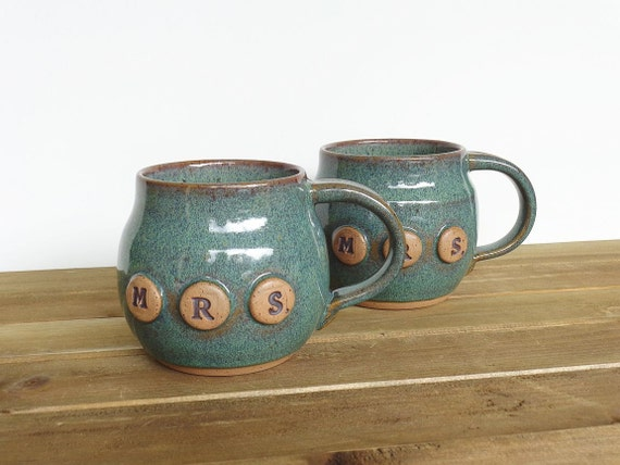 Reserved for Katrina - Pottery Coffee Cup Set in Sea Mist Glaze, Mrs and Mrs