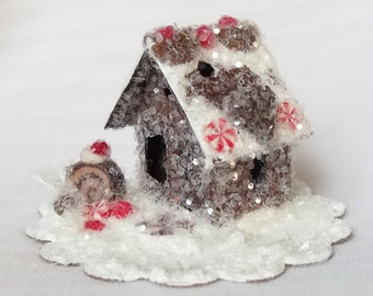Vintage Putz Style Tiny Miniature Gingerbread Glitter Sugar House Peppermint Candy Chocolate Cake Roll Hearts Christmas Tree Ornament