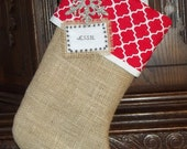 Christmas Burlap Stocking w/Personalization and Red Cuff - SALE-Embellished w/Snowflake & Embroidered Name Tag included NO additional charge