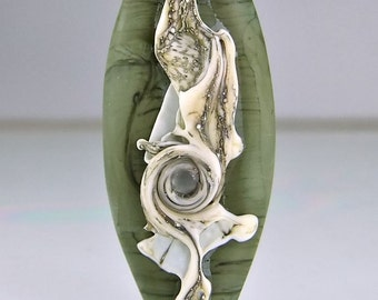 Etched Green and Silvered  Ivory Lampwork  Focal Bead