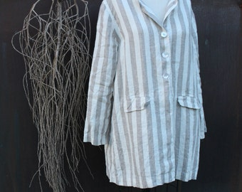 Linen Pin Striped Jacket Size Small Ready to Ship
