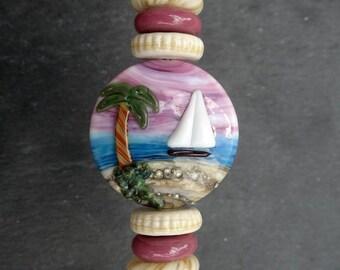 Lampwork Glass Bead Focal Set (7) Sail Boat Pink Sky