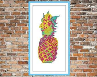 Watercolour Pineapple -  Counted Cross Stitch Pattern