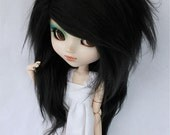 "Pullip wig 9.5"" Long in front Black wig MonstroDesigns"