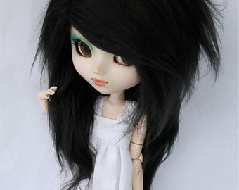"Pullip Doll  wig 9.5"" Long in front Black wig MonstroDesigns"