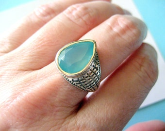Aqua Chalcedony and Textured Sterling Silver Ring Size 7