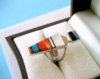 Navajo Harold Smith Sterling Inlay Ring Size 7