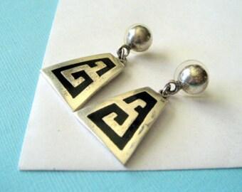 SALE...Sterling Silver and Enamel Taxco Earrings