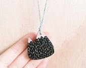 Mountain Necklace . Wooden Necklace . Snowy Mountain