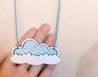 Cloud Necklace . Wooden Necklace . Silver Lining