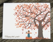 Fall Note Cards - Fall Tree - Happy Fall Y'all -  Set of 25 - Autumn Tree -  Fall Stationery