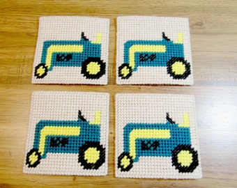 Farm Tractor Drink Coasters Set. Tractor Beverage Coasters. Tractor Mug Rugs. Tractor Table Mats. Tractor Design Surface Savers. Home Decor