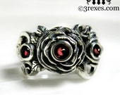Silver Rose Moon Spider Ring Gothic Garnet Stone Flower Band Size 7