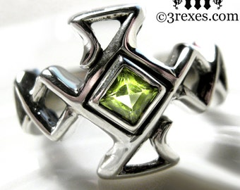 Mens Celtic Cross Ring Bohemian Z Green Peridot Stone Medieval Wedding Band Unisex Size 9.5