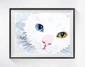 15. Cat Artwork White Cat Art PRINT, Myanmar painting, Water colour painting of kitty, White cat paintings cat illustration, Pet Art