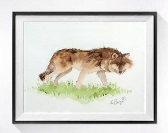 Coyote Art / Original art / Original Watercolor Painting / Woodland fine art / Animal art / Wildlife art painting Nature / 8 x 10 O