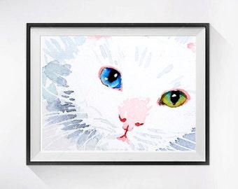 Cat Artwork White Cat Art Print Myanmar Cat painting Watercolour painting of kitty kitten White cat paintings cat illustration Pet Art 8
